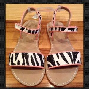 Gymboree Girls 11 Toddler Zebra Sparkly Sandals